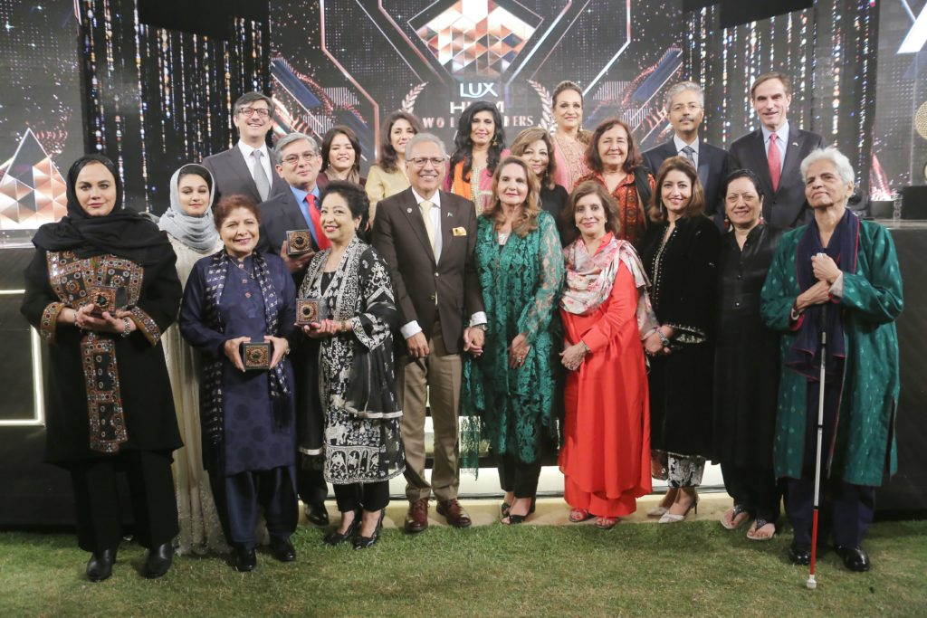 Dr Arif Alvi, with several winners and attendees of the awards
